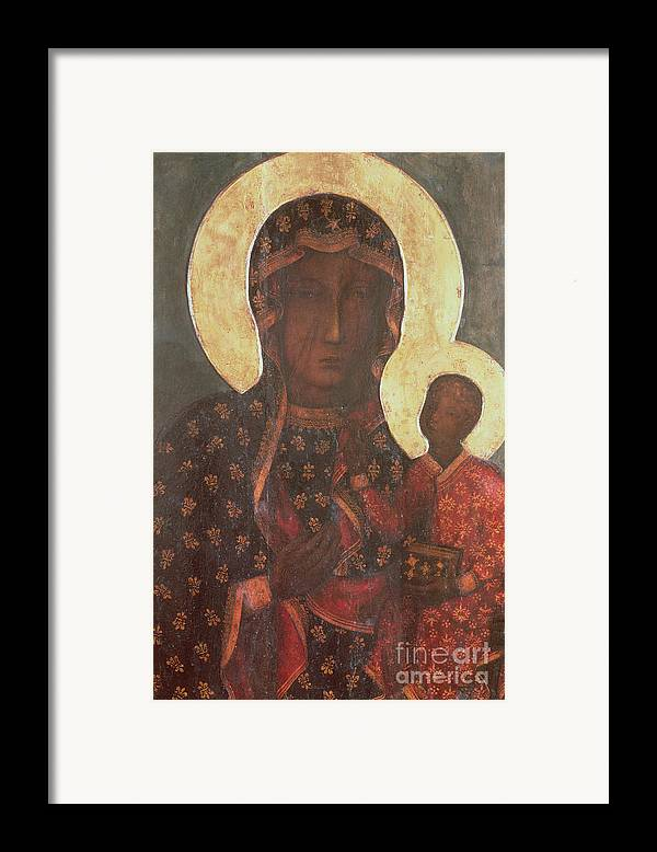 The Framed Print featuring the painting The Black Madonna Of Jasna Gora by Russian School