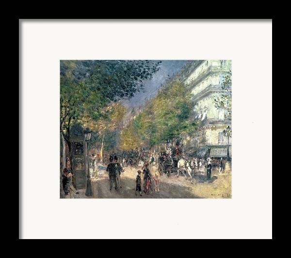 Impressionist; Paris; Haussmann; Street Scene; France; Crt Framed Print featuring the painting The Boulevards by Pierre Auguste Renoir