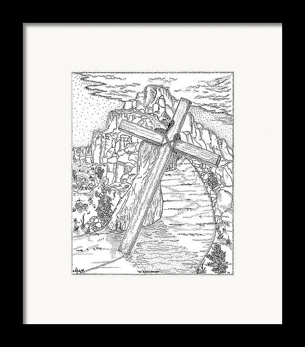 Jesus Christ Framed Print featuring the drawing The Burden Endured by Glenn McCarthy Art and Photography
