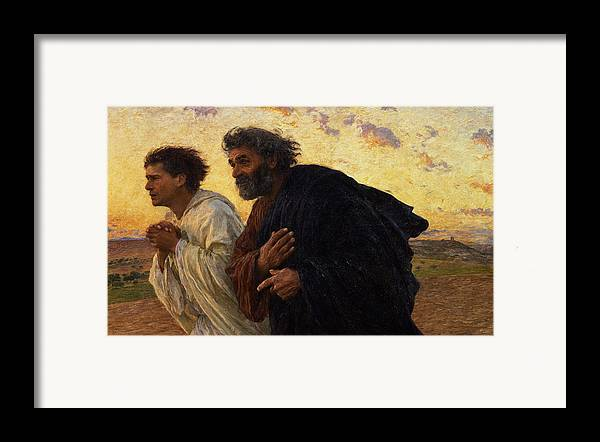 The Framed Print featuring the painting The Disciples Peter And John Running To The Sepulchre On The Morning Of The Resurrection by Eugene Burnand