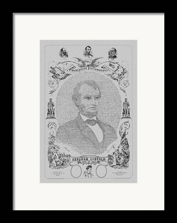 Emancipation Proclamation Framed Print featuring the mixed media The Emancipation Proclamation by War Is Hell Store