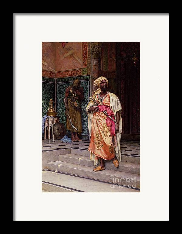 The Framed Print featuring the painting The Emir by Ludwig Deutsch