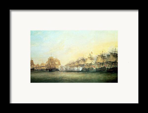 The Framed Print featuring the painting The Fourth Action Off Trincomalee Between The English And The French by Dominic Serres