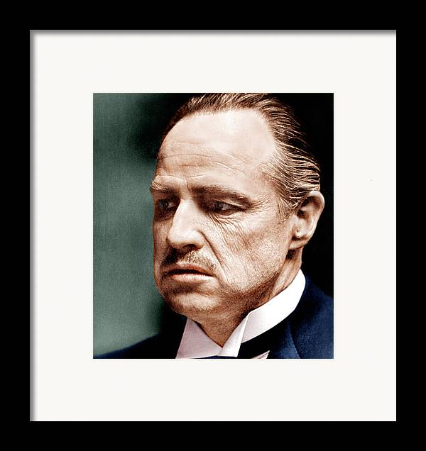 1970s Portraits Framed Print featuring the photograph The Godfather, Marlon Brando, 1972 by Everett