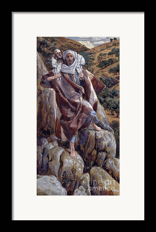 The Framed Print featuring the painting The Good Shepherd by Tissot