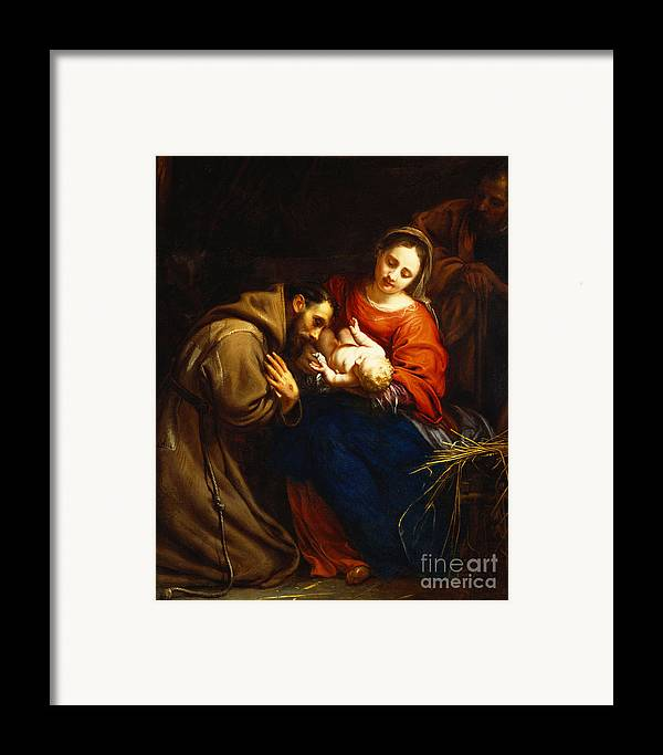 Holy Framed Print featuring the painting The Holy Family With Saint Francis by Jacob van Oost