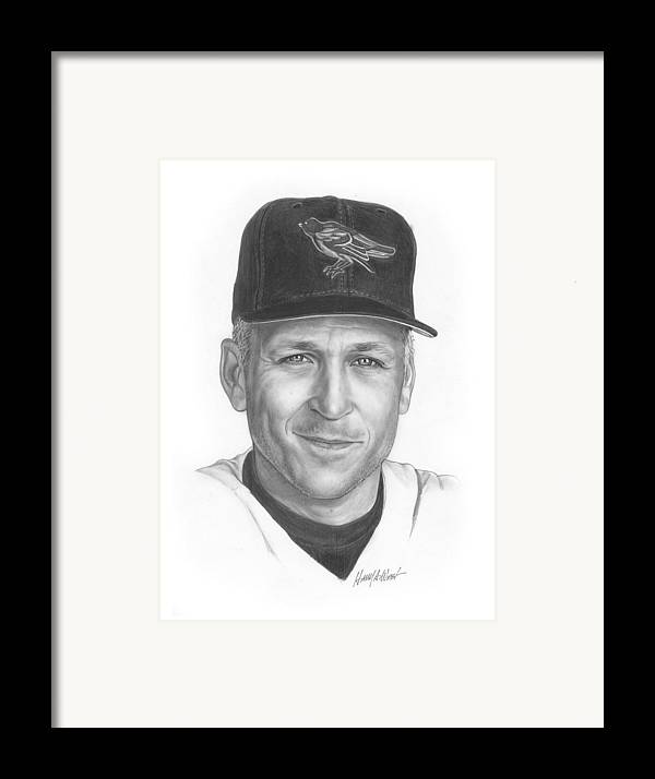 Cal Ripken Framed Print featuring the drawing The Iron Man II by Harry West