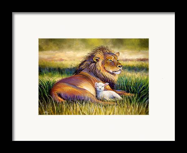Lion And The Lamb Framed Print featuring the pastel The Kingdom Of Heaven by Susan Jenkins