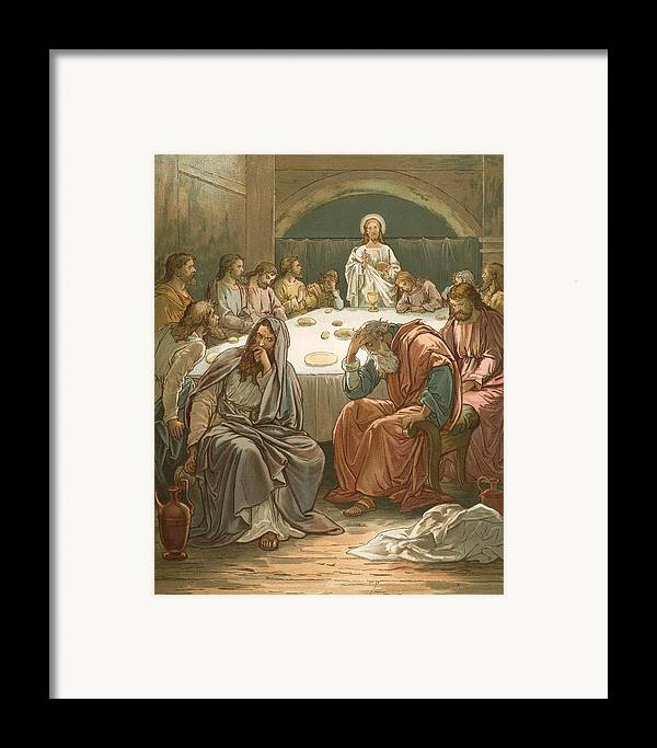 Bible; The Last Supper; Jesus Christ; Judas Isacariot; Breaking Bread; Wine Framed Print featuring the painting The Last Supper by John Lawson