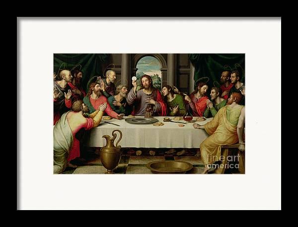 The Last Supper (oil On Panel) By Vicente Juan Macip (juan De Juanes) (c.1510-79) Framed Print featuring the painting The Last Supper by Vicente Juan Macip