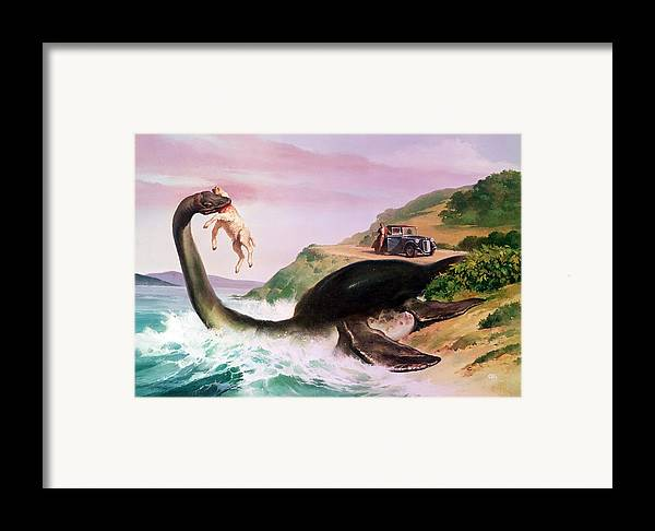 Flippers; Sheep; Car; Landscape; Lake; Waves; Sightseeing; Nessie; Superstition; Legend; Folklore Framed Print featuring the painting The Loch Ness Monster by Gino DAchille
