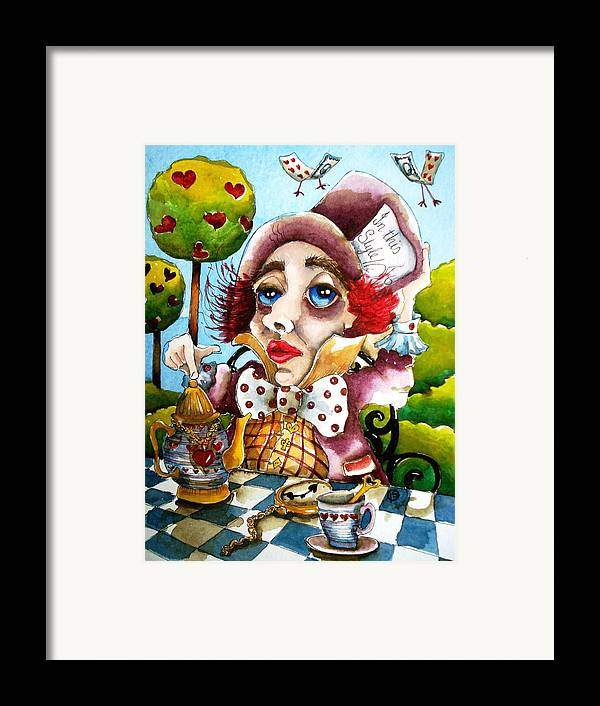 Mad Framed Print featuring the painting The Mad Hatter by Lucia Stewart