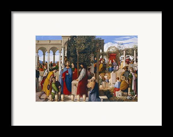 The Marriage At Cana Framed Print featuring the painting The Marriage At Cana by Julius Schnorr von Carolsfeld