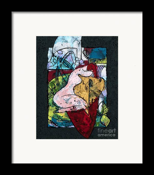 Art Framed Print featuring the painting The Musician And Her Golden Tool by Elisabeta Hermann