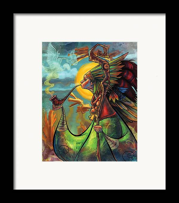 Illustration Framed Print featuring the painting The Mystic by Jayson Green
