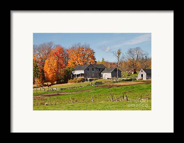 Farm Framed Print featuring the photograph The Old Farm In Autumn by Louise Heusinkveld