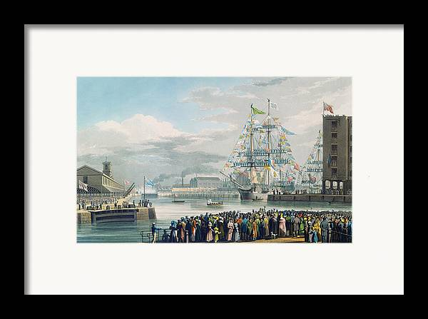 The Framed Print featuring the painting The Opening Of Saint Katharine Docks by Edward Duncan