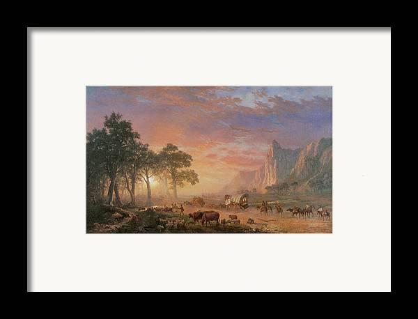 Albert Bierstadt Framed Print featuring the painting The Oregon Trail by Albert Bierstadt
