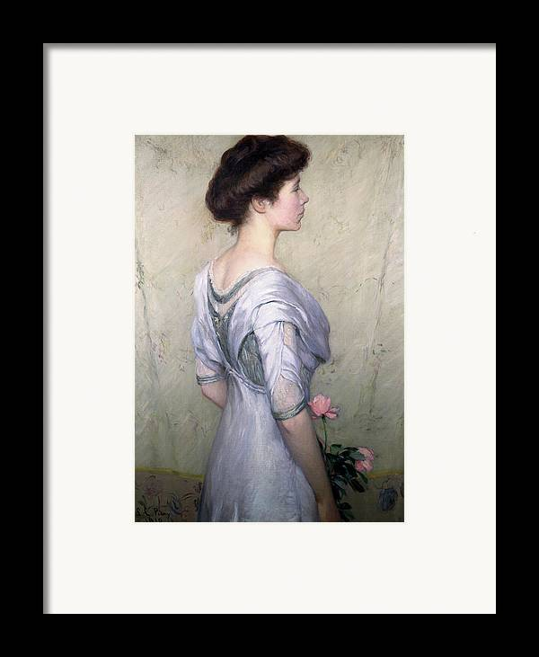 The Pink Rose Framed Print featuring the painting The Pink Rose by Lilla Cabot Perry