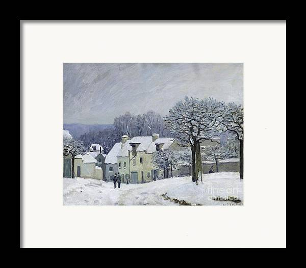 The Framed Print featuring the painting The Place Du Chenil At Marly Le Roi by Alfred Sisley