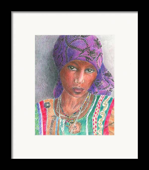 Purple Framed Print featuring the drawing The Purple Scarf by Arline Wagner