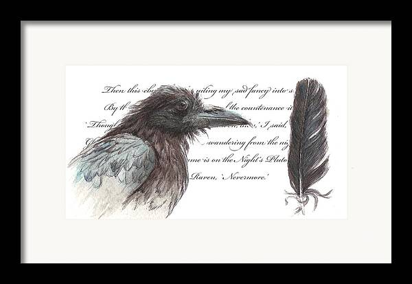 Raven Framed Print featuring the painting The Raven by Tahirih Goffic