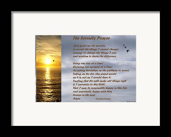 Barbara Snyder Framed Print featuring the digital art The Serenity Prayer by Barbara Snyder