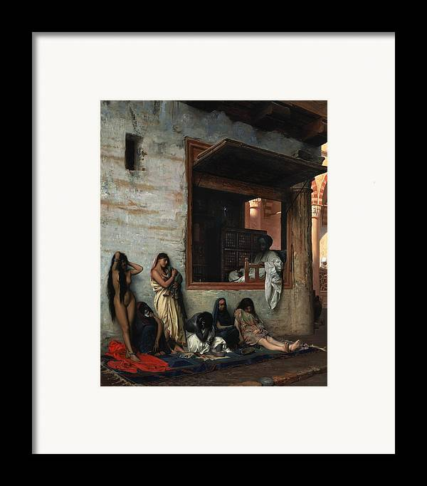 The Slave Market Framed Print featuring the painting The Slave Market by Jean Leon Gerome