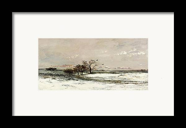 The Framed Print featuring the painting The Snow by Charles Francois Daubigny