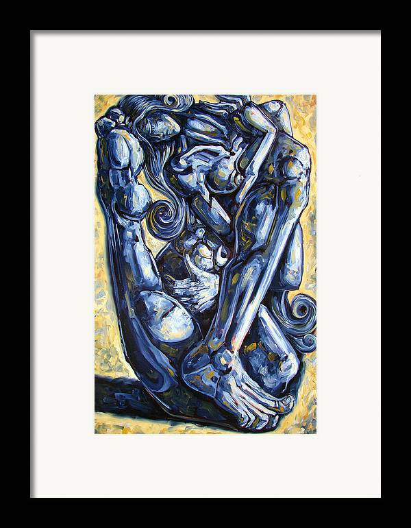 Nude Framed Print featuring the painting The Struggle by Darwin Leon