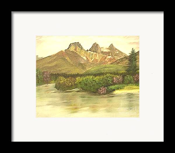 Lanscape Framed Print featuring the painting The Three Sisters by Nicholas Minniti