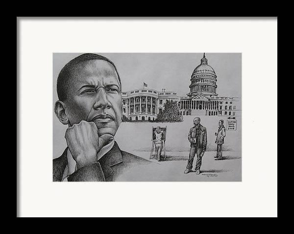Barack Obama Framed Print featuring the drawing The Transition by Arnold Hurley