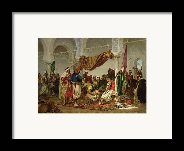 The Turkish Cafe Framed Print featuring the painting The Turkish Cafe by Charles Marie Lhuillier