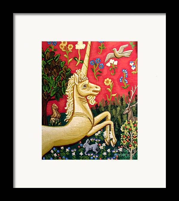 Unicorn Framed Print featuring the painting The Unicorn by Genevieve Esson