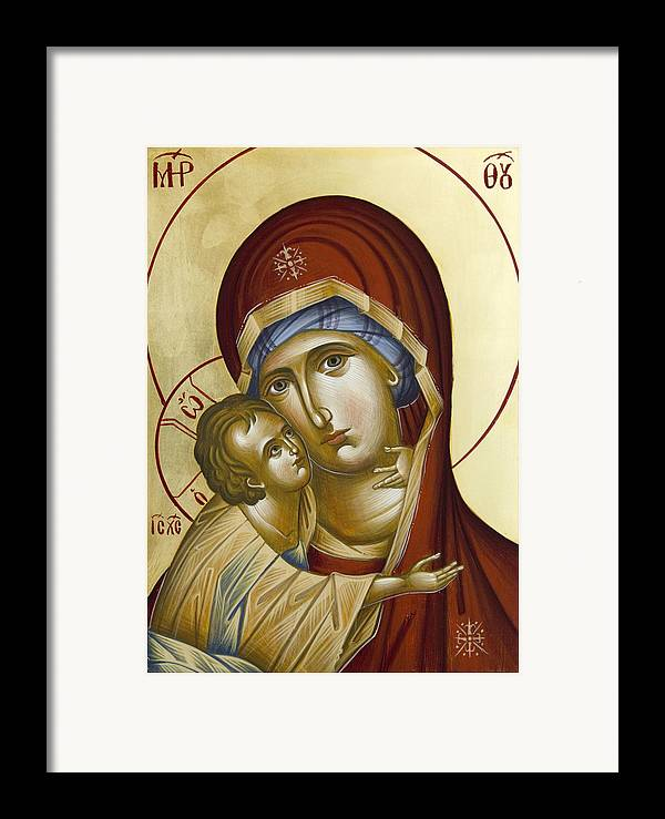 Icon Framed Print featuring the painting Theotokos by Julia Bridget Hayes