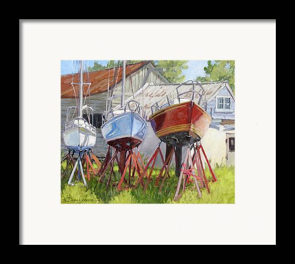 Sail Boats Framed Print featuring the painting Three Up by L Diane Johnson