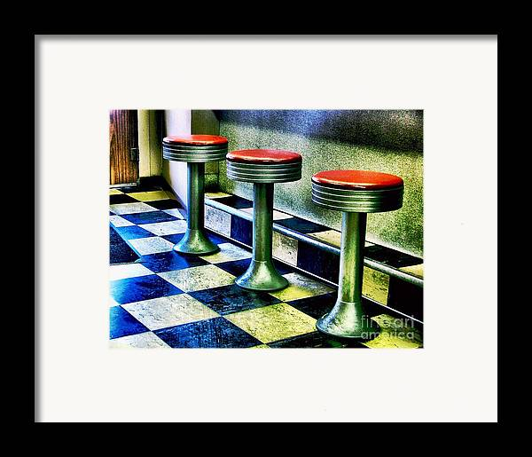 Retro Photography Framed Print featuring the photograph Three White Steamer Stools by Julie Dant