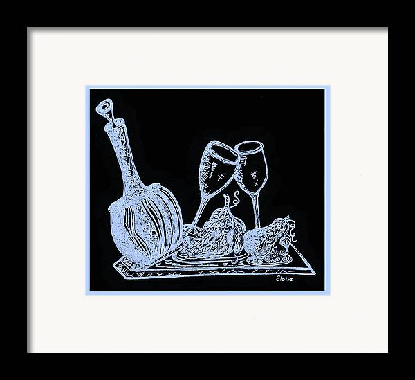 Decanter Framed Print featuring the painting Topsy Turvy Tray - First Kiss by Eloise Schneider