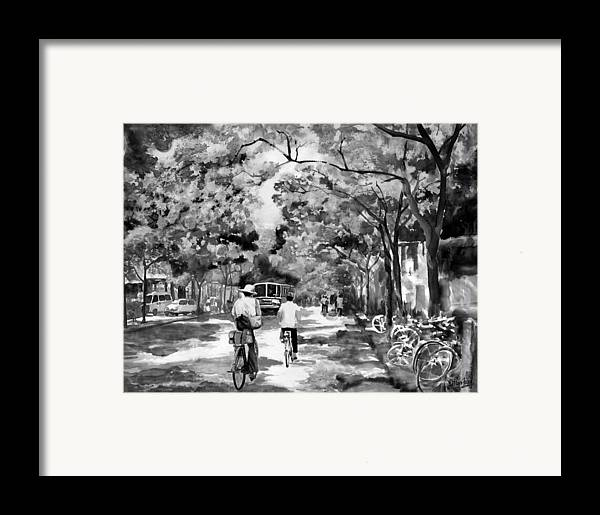 Xian Framed Print featuring the painting Tradition Vs Modernism by Eileen Fong