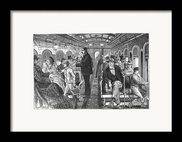 1876 Framed Print featuring the photograph Train: Passenger Car, 1876 by Granger
