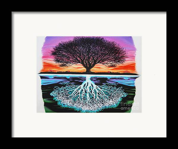 Tree Of Life Framed Print featuring the drawing Tree Of Life And Negative by Brian Schuster