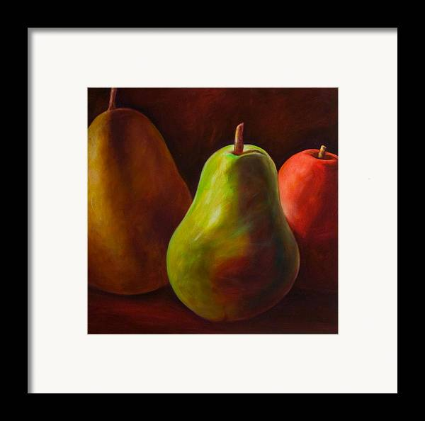 Fruit Framed Print featuring the painting Tri Pear by Shannon Grissom
