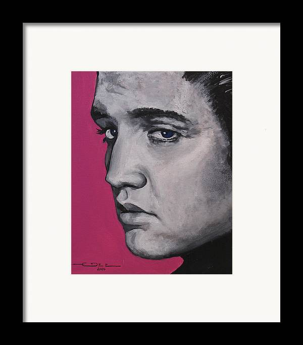 Elvis Presley Framed Print featuring the painting Trouble - Born Standing Up by Eric Dee