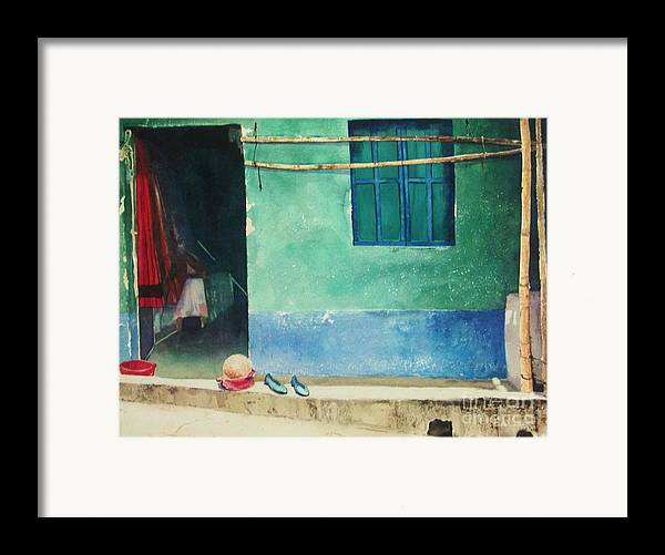 Guatemalan Home Framed Print featuring the painting Two Shoes And A Melon by Elizabeth Carr