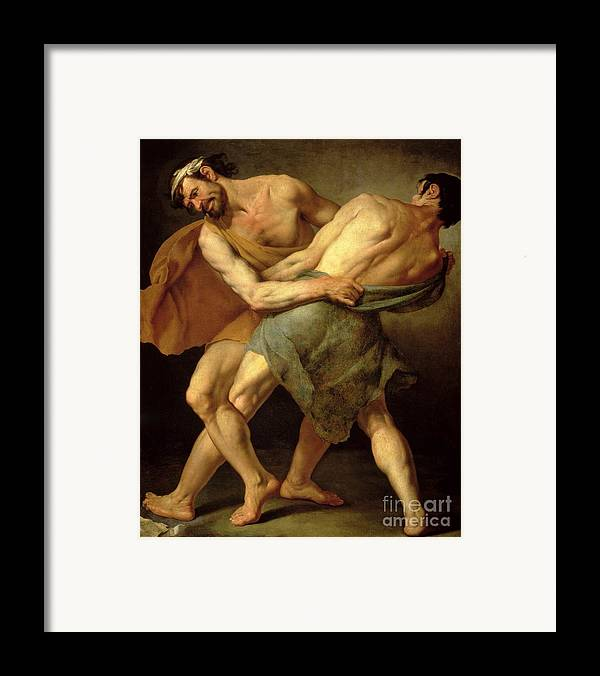 Nude Framed Print featuring the painting Two Wrestlers by Cesare Francazano