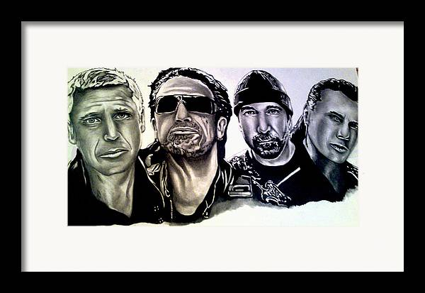 U2 Framed Print featuring the drawing U2 by Pauline Murphy