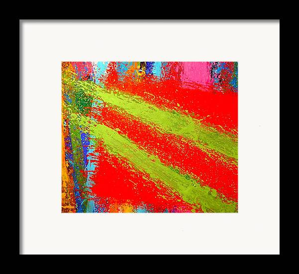 Abstract Irish Contemporary Modern Vibrant Music Jazz Artist Gallery Studio Red Green Colourful Acrylic Canvas Stylised Original Print Card Professional Art Auction Bid Framed Print featuring the painting Unison by John Nolan
