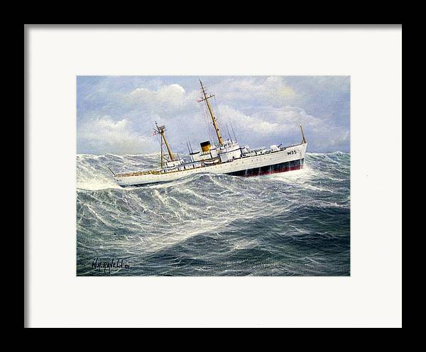 United States Coast Guard Cutter Ingham In Heavy Seas Framed Print featuring the painting United Statescoast Guard Cutter Ingham by William H RaVell III