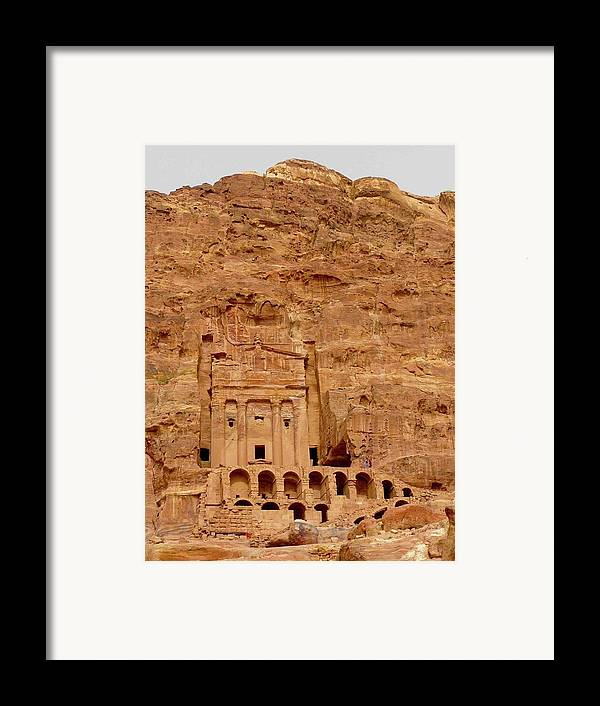 Vertical Framed Print featuring the photograph Urn Tomb, Petra by Cute Kitten Images