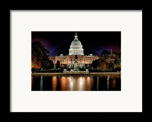 Washington Framed Print featuring the photograph Us Capitol Building And Reflecting Pool At Fall Night 3 by Val Black Russian Tourchin